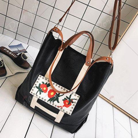 Discount Flower Embroidered PU Leather Tote Bag - BLACK  Mobile