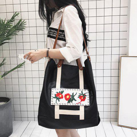 Buy Flower Embroidered PU Leather Tote Bag BLACK