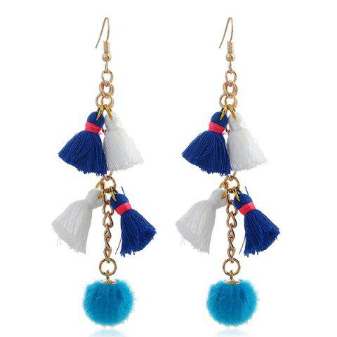 Tassels Small Pompon Pendant Earrings - Blue