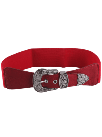 New Pin Buckle Vintage Engraved Elastic Waist Belt - RED  Mobile