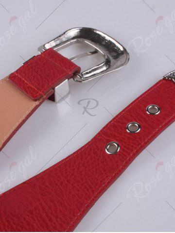 Sale Pin Buckle Vintage Engraved Elastic Waist Belt - RED  Mobile