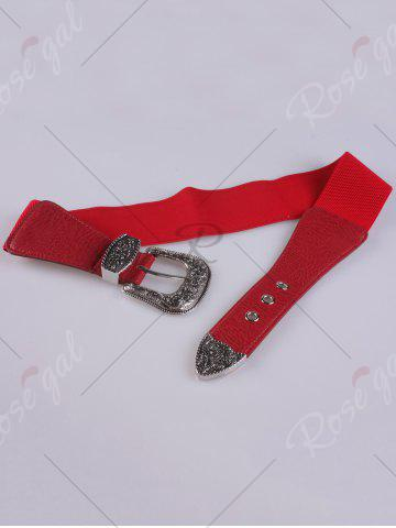 Buy Pin Buckle Vintage Engraved Elastic Waist Belt - RED  Mobile