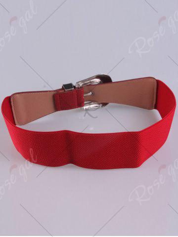 Store Pin Buckle Vintage Engraved Elastic Waist Belt - RED  Mobile