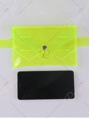 New Snap Buton Jelly Color Portable Waist Belt Bag - NEON GREEN  Mobile