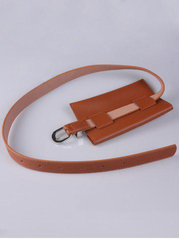 Buy Faux Leather Pin Buckle Waist Belt with Bag - CHOCOLATE  Mobile