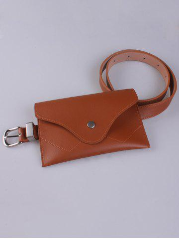 Trendy Faux Leather Pin Buckle Waist Belt with Bag - CHOCOLATE  Mobile