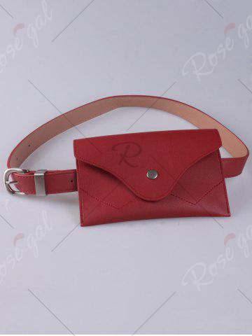 Trendy Faux Leather Pin Buckle Waist Belt with Bag - RED  Mobile