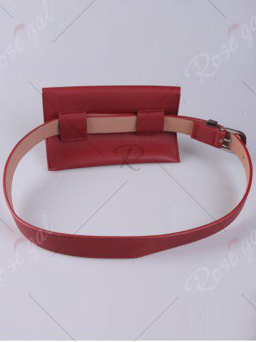 Buy Faux Leather Pin Buckle Waist Belt with Bag - RED  Mobile