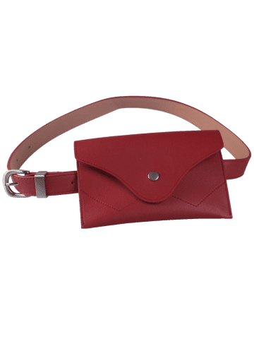 New Faux Leather Pin Buckle Waist Belt with Bag - RED  Mobile