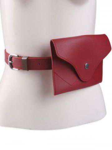 Affordable Faux Leather Pin Buckle Waist Belt with Bag - RED  Mobile