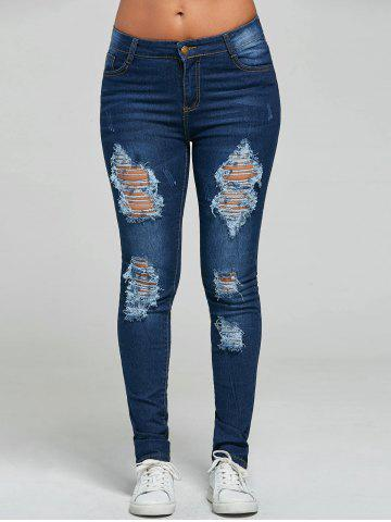 Online Ripped Skinny Jeans - S BLUE Mobile