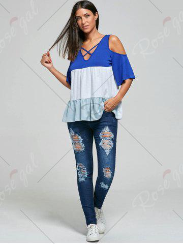 Fashion Ripped Skinny Jeans - S BLUE Mobile