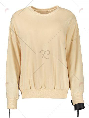 Chic Casual Selt Tie Lace Up Sweatshirt - S APRICOT Mobile