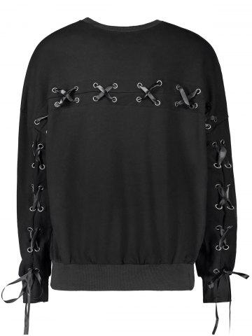 Shop Casual Selt Tie Lace Up Sweatshirt - L BLACK Mobile