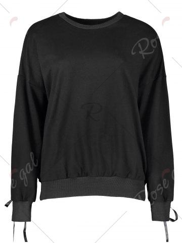 Hot Casual Selt Tie Lace Up Sweatshirt - L BLACK Mobile