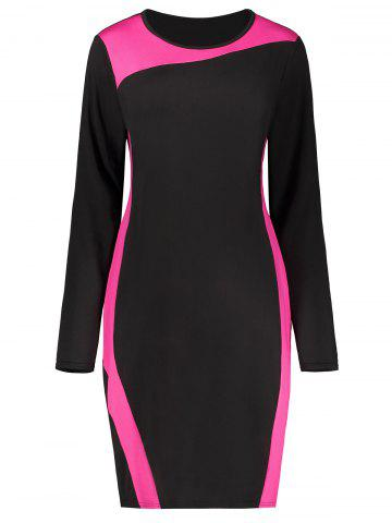 Chic Plus Size Two Tone Long Sleeve Work Dress