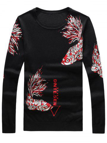 Online Long Sleeve Fish and Graphic Print Sweater
