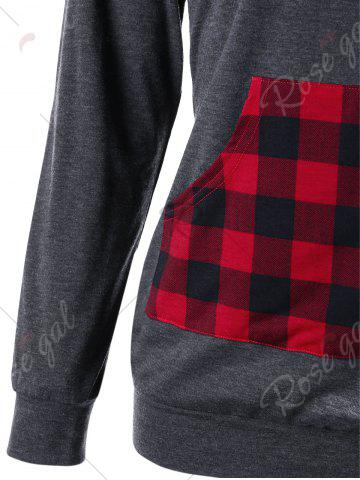 Affordable Elbow Patch Kangaroo Pocket Plaid Hoodie - M MOUSE GREY Mobile