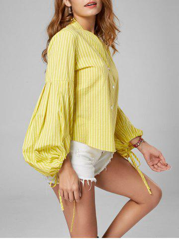 Trendy Button Up Puff Sleeve Striped Shirt YELLOW M