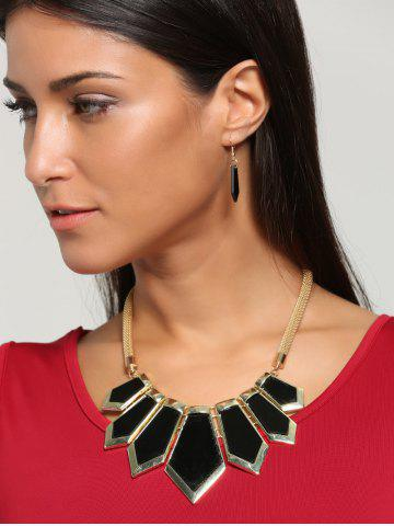 Plating Geometric Statement Necklace Set - Black - One Size