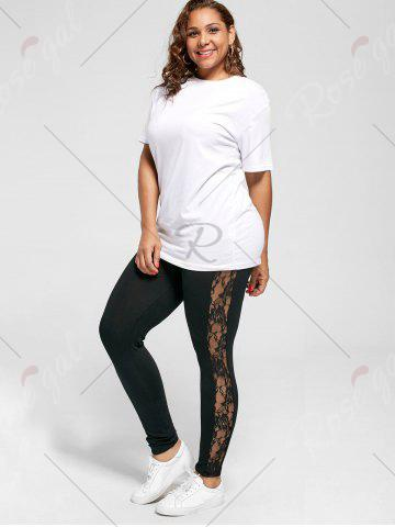 Latest Plus Size Lace Trim Sheer Leggings - XL BLACK Mobile