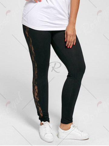 Sale Plus Size Lace Trim Sheer Leggings - XL BLACK Mobile