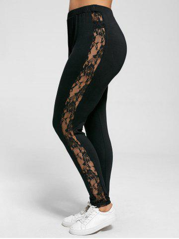 Plus Size Lace Trim Sheer Leggings - Black - 5xl