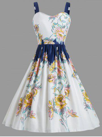 Best Vintage Spaghetic Strap Floral Party Dress - S WHITE Mobile
