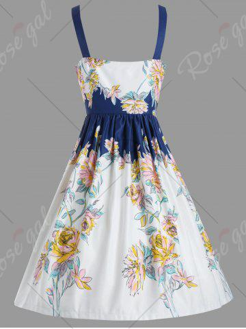 Shop Vintage Spaghetic Strap Floral Party Dress - L WHITE Mobile