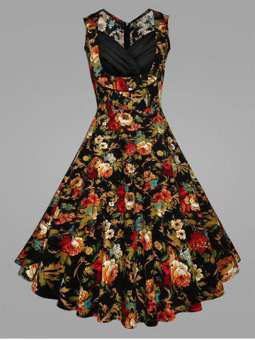 Outfits Pleated Plus Size Floral Vintage Swing Dress BLACK XL