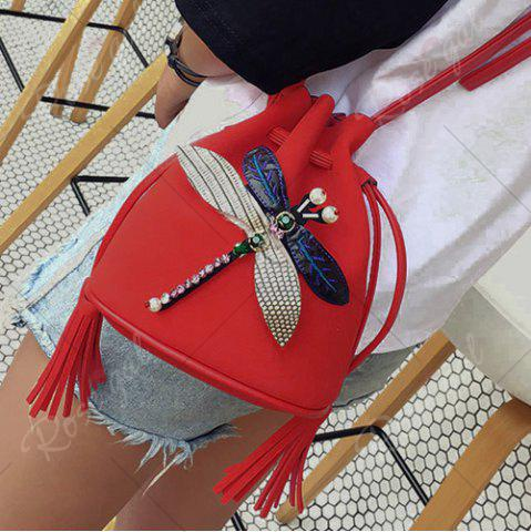 Fashion Drawstring Dragonfly Embellished Bucket Bag - RED  Mobile