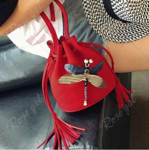 Cheap Drawstring Dragonfly Embellished Bucket Bag - RED  Mobile