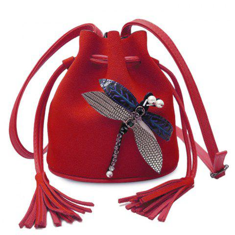 Affordable Drawstring Dragonfly Embellished Bucket Bag - RED  Mobile