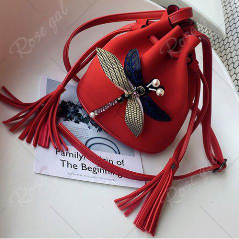 Outfit Drawstring Dragonfly Embellished Bucket Bag - RED  Mobile