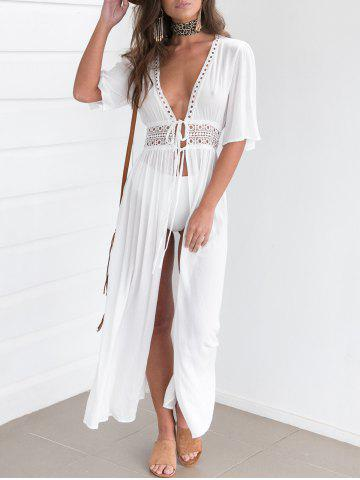 Cheap Maxi Lace Insert Cover Up Dress WHITE M