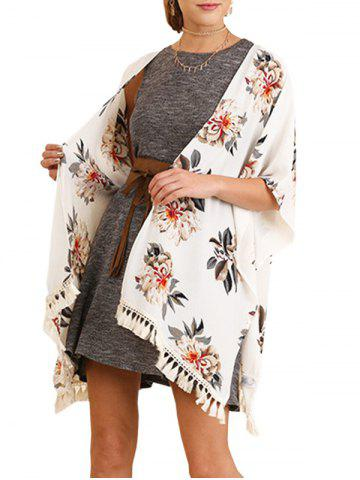 Hot Floral Print Tassels Cover Up - M WHITE Mobile