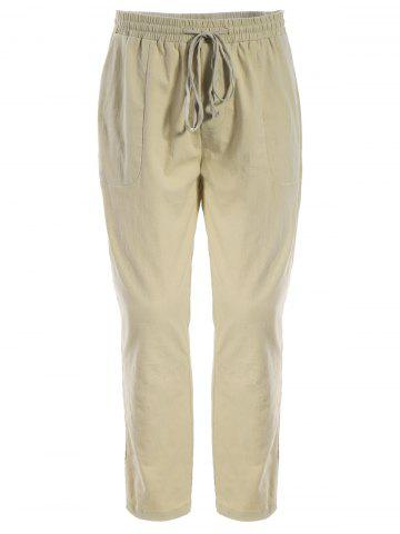 Pockets Drawstring Joggers Pants - Khaki - L
