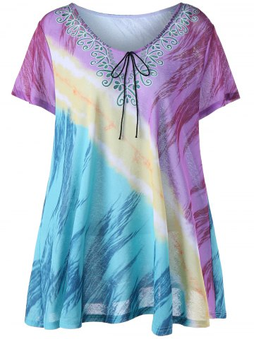 Fancy Printed Plus Size Tunic Top - 4XL COLORMIX Mobile