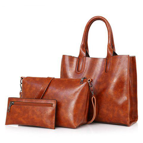 Discount PU Leather 3 Pieces Tote Bag Set - BROWN  Mobile