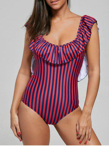 Outfit Flounce One Piece Striped Swimsuit