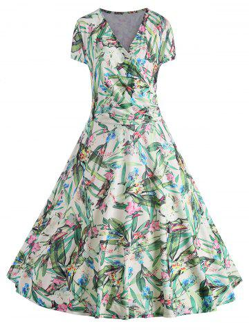 Fashion Leaves Floral Print Plus Size Surplice Dress
