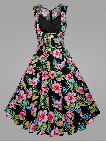Cheap Plus Size Tropical Floral Midi Vintage Dress