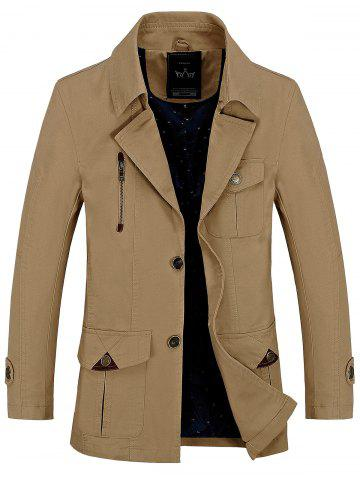 Trendy Button Pocket Single Breasted Coat