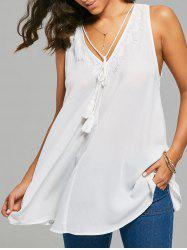 Tassel Sleeveless Crochet Panel Back Slit Blouse