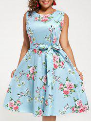 Plus Size Sleeveless A Line Floral Midi Dress