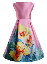 3D Print Floral Plus Size Vintage Dress with Pockets