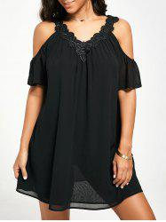 Flutter Cold Shoulder Chiffon Swing Dress - BLACK