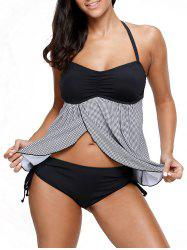 Halter Houndstooth Split Tankini Set - Multicolore