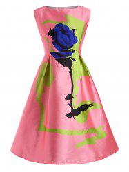 Rose Plus Size Sleeveless Vintage Fit and Flare Dress