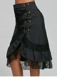 Lace Trim Buckles Buttons Midi Skirt - BLACK